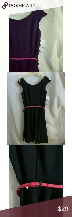 """NWT Cold Shoulder Swing Midi Black Dress Med /10 +New with tags from Alyn Paige. Made in the USA! Beautiful swing skirt midi LBD black dress w/ hot pink studded skinny belt. Open cap sleeve/ cold shoulder. Back zip. Size 9/10 Medium. Measures (flat) 16"""" across chest, 28"""" from underarm to skirt hem, 32"""" down middle back seam, 13.5"""" across empire waist. Valentine's Day, date night, cocktails, & wedding ready :) +Bundle w/ my men's/women's items or kids/baby clothes :-) Smoke & pet free. Thanks…"""