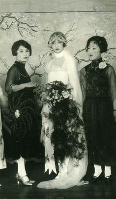 Chinese bride and bridesmaids, early 1920s, China. By John D. Zumbrun.