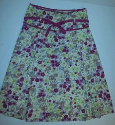 Persaman New York Cotton Summer Belted Flower Skirt Pink Sz 6 Anthropologie NWT #Persaman #Pleated