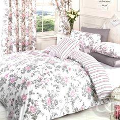 Bettwsche-mit-Vintage-Blumenmuster-Baumwoll-Polyester-Mischung-Steppdecke-Set