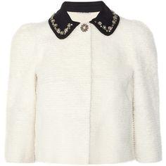 Miu Miu Crystal-collar shearling jacket ($1,155) ❤ liked on Polyvore featuring outerwear, jackets, miu miu, tops, shearling collar jacket, pocket jacket, shearling jacket and puff shoulder jacket