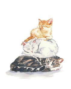 Cat watercolor - 8x10 Watercolour PRINT, Sleeping, Tabby Cat, Kitten Illustration, Chidren's Art