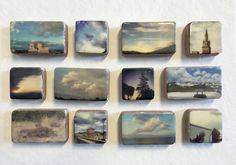 encaustic on Handmade Cast Adobe Tile Sunset by langartworks