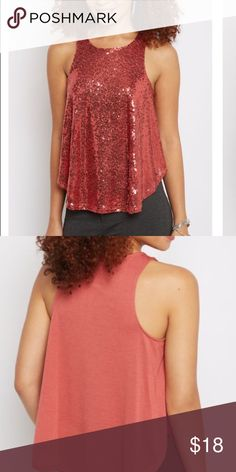 Dark pink sequence racerback tank Beautiful dark pink sequence top,  great to dress up a pair of jeans. Tops Tank Tops