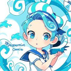 Pepperimint cookie CUTE Kawaii Chibi, Anime Chibi, Anime Art, Chibi Food, Cookie Run, Peppermint Cookies, Art Station, Cute Cookies, Cartoon Games