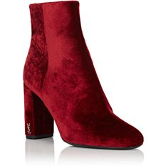Saint Laurent Women's Loulou Velvet Ankle Boots (€835) ❤ liked on Polyvore featuring shoes, boots, ankle booties, ankle boots, round toe ankle boots, red boots, red high heel boots and velvet boots