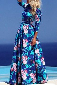 retro style feminine blue floral maxi //