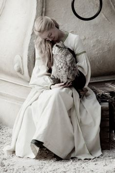 Her pet snowy owl princess, friends, dream, pushing daisies, white, fairi tale, hair, snowy owl, owls