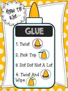 to Use Glue Poster Classroom decor that s also informative! This is an x 11 quot; poster that explains and reinforces how to use glue.Classroom decor that s also informative! This is an x 11 quot; poster that explains and reinforces how to use glue. Classroom Posters, Classroom Design, Future Classroom, School Classroom, Classroom Organization, Classroom Decor, Art School, Classroom Management, School Ideas