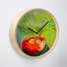 Green red clock natural decoration print holiday Unique Paintings, Beautiful Paintings, Red Clock, Wall Clock Design, Frames On Wall, Framed Wall, Plant Painting, Modern Artists, Green Plants
