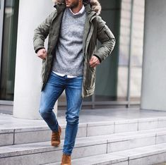 Die: Camel Ankle Boots + Blue Jeans + Lightgray Sweater + White Simple Shirt + Olivegreen Coat