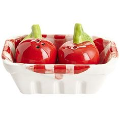 Gingham Cherry Salt & Pepper Shaker Set #Cherries #Gingham