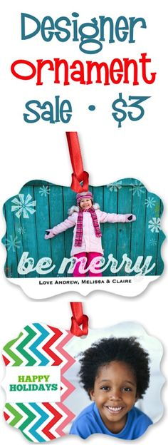 Designer Christmas Photo Ornament Sale: $3.00 + s/h!  {make a cute new ornament for your tree... or a fun gift!} #ornaments