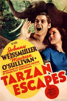 An affectionate tribute to Olympic swimming champion Johnny Weissmuller, Maureen O'Sullivan and John Sheffield, the stars of the classic MGM Tarzan movies of the and Maureen O'sullivan, Tarzan Movie, I Movie, Movie Theater, Theatre, Caricature, Escape Movie, Aladdin Princess, Movie Posters