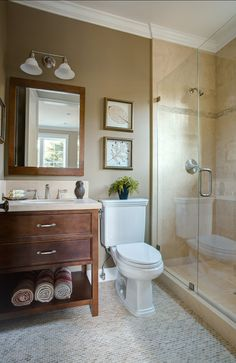neutral and warm bathroom hues;  dimensions: 6′x5'8″ for the bathroom plus a 5′ x 2'10″ for shower.