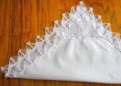 vintage bridal handkerchief with crochet by uniquefindsandcrafts