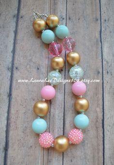 Light Pink Mint Cream and Gold Bubblegum by LauraLeeDesigns108