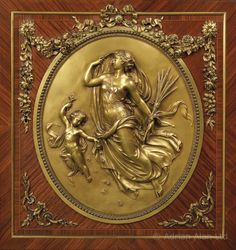 The roundel from Rare Antique Gilt-Bronze Mounted Rosewood and Kingwood Parquetry Inlaid Side Cabinet, By François Linke. French, Circa 1900.