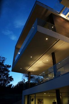 Resort Residence Exterior From Home Among Great Suspended House Architecture View At Night With Glass Balustrade Modern Residence in Beautiful Appearance