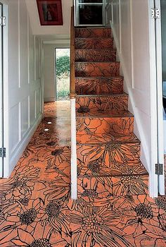 """Flemish Art"" floor decoration....Love this idea... use a wood burnier to decorate your floor"