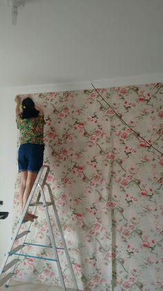 Aplicação  tecido de parede