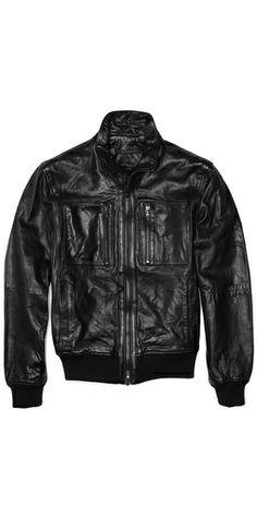 John Varvatos Star USA Band Collar Leather Zip Up Jacket
