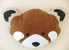 Plush Red Panda Head stuffed animal totem eco dolls - Fauna Friends Collection by Fawn and Sea - handmade with eco friendly felt