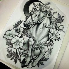 Tattoos have been and are still a big part of many to this day, and many people have one or more tattoos on their bodies. Many different cultures embrace tattoos, and they can bear many different m… Horse Tattoo Design, Tattoo Design Drawings, Tattoo Sketches, Tattoo Designs, Tattoos For Women Small, Small Tattoos, Cool Tattoos, Neotraditionelles Tattoo, Body Art Tattoos
