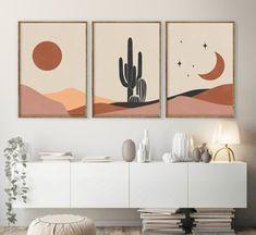 Geometric Art, Mid Century Modern Art, Boho Wall Art, Art Set, Canvas Art Painting, Minimalist Art, Cactus Wall Art, Diy Canvas Art, Geometric Art Printable