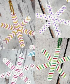 Ideas for homemade snowflakes - Basteln - Noel Arts And Crafts For Teens, Christmas Crafts For Kids, Christmas Activities, Kids Christmas, Christmas Tree Decorations, Holiday Crafts, Christmas Ornaments, Popsicle Stick Crafts, Craft Stick Crafts
