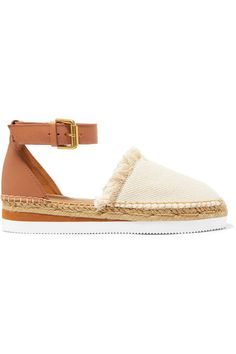 See by Chloé - Platform Leather And Canvas Espadrilles - Neutral