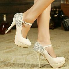 shoes nude ankle strap stilettos cute high , sparkly, glitter, diamonds, long dress, slit, grad dress silver high heels cream high heels heels silver #prom heels