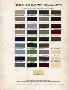 Auto Paint Codes Austin Healey Morris Riley Wolseley