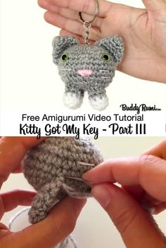How to crochet a kitty keychain. Video tutorial part Crochet Fish Patterns, Amigurumi Patterns, Crochet Brooch, Diy Crochet, Crochet Earrings, Crochet Hats, Crochet Numbers, Crochet Keychain Pattern, Cat Keychain