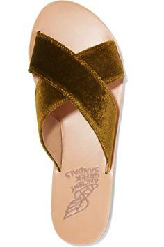 Ancient Greek Sandals - Thais Velvet And Leather Slides - Mustard - IT39