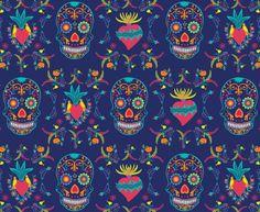 Jardim de Caveiras Marinho/Navy Skull Garden  #estampa #print #pattern #color #colorful #beautiful #cores #caveira #skull #mexico #diadelosmuertos #coração #heart #azul #blue