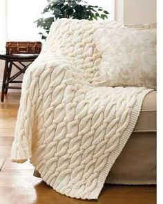 Cable Knit Throw~free pattern.