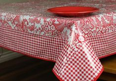 "Red Toile And Red Gingham Oilcloth Tablecloth 84"" x 56""     Oilcloth Alley ~  oilclothalley.com"