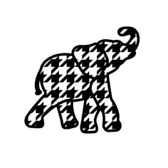 Houndstooth Elephant Decal on Rebecca Lane Graphics on Etsy! Alabama Logo, Alabama Crimson Tide Logo, Alabama Baby, Alabama Shirts, Alabama Football, Football Signs, Football Quotes, Elephant Silhouette, Silhouette Clip Art