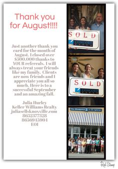 A thank you for you. www.juliasellsknoxville.com