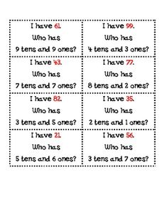"""Here's a set of 24 """"I have, who has?"""" cards for place value that focuses on tens and ones."""