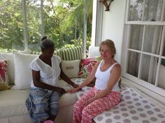 Biomat Relaxation Station @ the Caribbean Cleanse. Gail receiving Body Talk from June Naylor. Montego Bay, Jamaica www.thecaribbeancleanse.com Check it out!