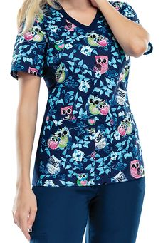 Cherokee Flexibles Owl I Want Is You print scrub top. Main Image