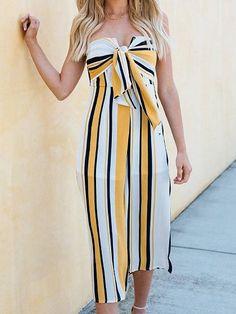 c694d8bfc1 Yellow Contrast Stripe Bandeau Tie Front Chic Women Romper Jumpsuit.  MYNYstyle