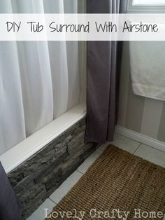 Update Your Boring Builder Bathtub With AIRSTONE! diy tub surround using airstone Cool Diy Projects, Home Projects, Home Renovation, Home Remodeling, Bathroom Remodeling, Remodeling Contractors, Cheap Remodeling Ideas, Cheap Flooring Ideas, Home Decoracion