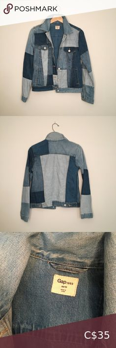 GAP Remix Denim Jacket Patchwork Denim Jacket made by the GAP as part of their remix collection. Very fun and very cozy. Jackets For Women, Denim Button Up, Button Up Shirts, Denim Patchwork, Plus Fashion, Fashion Tips, Fashion Trends, Cozy
