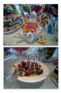 Trufas, cupcakes y muchos dulces. Table dessert. Candy Bar. Circus party. Fiesta de circo con payasos http://antonelladipietro.com.ar/blog/2012/03/payasos-en-el-cumple/