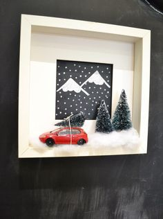 mommo design: XMAS DIY - Adorable Christmas shadow box DIY with a tree on a little toy car. So cute! Christmas Fun, Diy Christmas Shadow Box, Ikea Christmas Tree, Christmas Frames, Christmas Villages, Christmas Projects, Ribba Frame, Ikea Christmas Decorations, Shadowbox Diy