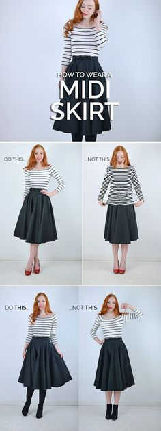 How to wear a midi skirt: style tips and advice for midi skirts - mode - Look Fashion, Autumn Fashion, Womens Fashion, Fashion Tips, Fashion Trends, Street Fashion, Pear Shape Fashion, Trendy Fashion, Minimal Fashion