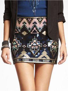 Aztec Black Sequin Skirt